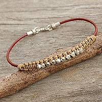 Men's leather and silver braided bracelet, 'Constellation in Beige' - Beige and Russet Hand Knotted Men's Bracelet with Silver