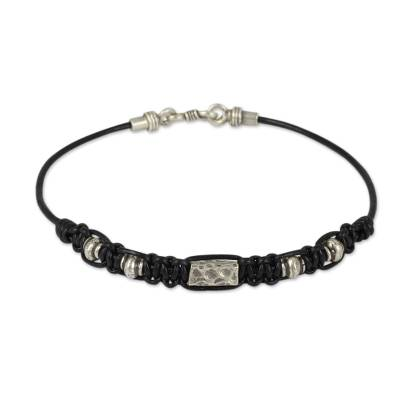 Hill Tribe Silver Bracelet in Macrame Black Leather for Men