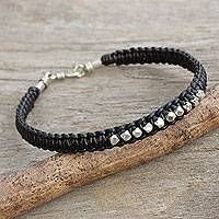 Men's leather and silver braided bracelet, 'Dark Night Stars' - Men's Black Leather Braided Bracelet with Hill Tribe Silver