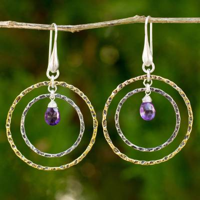 Gold plated amethyst dangle earrings, 'Rippling Beauty' - Gold Plated Sterling Silver Earrings with Amethyst