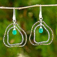Gold plated green chalcedony dangle earrings,