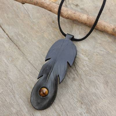 Tiger's eye and leather pendant necklace, 'Feather Spirit in Black' - Handcrafted Black Leather Necklace with Tiger's Eye