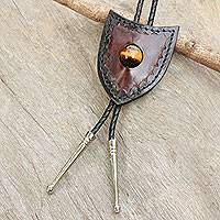 Tiger's eye and leather bolo tie, 'Earth Shield' - Brown Leather Artisan Crafted Bolo Tie with Tiger's Eye