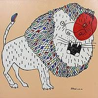 'Lion Roar' - Naif Signed Original Lion Painting from Thailand