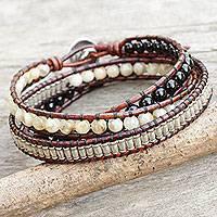 Onyx and jasper wrap bracelet, 'Hill Tribe Discovery' - Leather Wrap Bracelet with Onyx Jasper and Silver