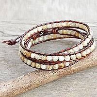 Jasper wrap bracelet, 'Surin Lands' - Artisan Crafted Jasper Silver and Leather Wrap Bracelet