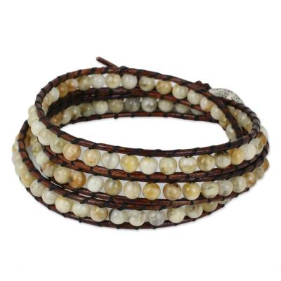 Artisan Crafted Jasper Silver and Leather Wrap Bracelet