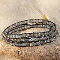 Gold plated labradorite wrap bracelet, Solar Treasure
