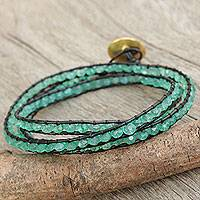 Gold plated green chalcedony wrap bracelet, 'Solar Treasure' - Leather Chalcedony Wrap Bracelet with Gold Plate Clasp