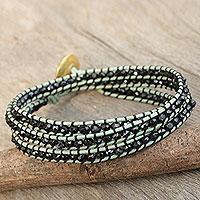 Gold plated onyx wrap bracelet,