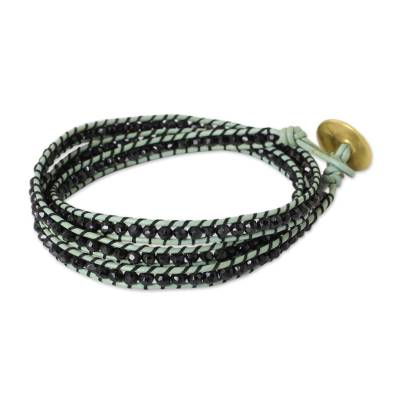 Onyx Leather Wrap Bracelet with Gold Plate Clasp