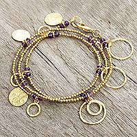 Gold plated amethyst wrap bracelet, 'Retro Eclipse' - Gold Plated Wrap Bracelet Handcrafted with Amethysts