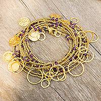 Gold plated amethyst wrap bracelet,