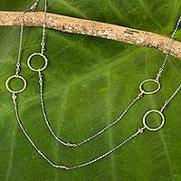 Gold plated labradorite station necklace,