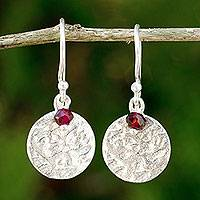 Garnet dangle earrings, 'Red Harvest Moon' - Artisan Crafted Sterling Silver and Garnet Earrings Thailand