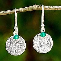 Sterling silver dangle earrings, 'Green Harvest Moon' - Sterling Silver Artisan Crafted Earrings with Green Onyx