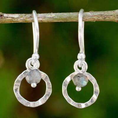 Labradorite dangle earrings, 'Rustic Modern' - Hand Made Sterling Silver Earrings with Labradorite