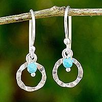 Sterling silver dangle earrings, 'Rustic Modern' - Sterling Silver and Blue Calcite Hook Earrings from Thailand