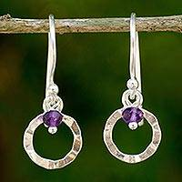 Amethyst dangle earrings, 'Rustic Modern' - Artisan Crafted Sterling Silver Earrings with Amethyst