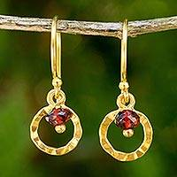 Gold plated garnet dangle earrings, 'Rustic Modern' - Gold Plated Sterling Silver Earrings with Garnet