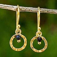 Gold plated onyx dangle earrings, 'Rustic Modern' - Onyx on 24k Gold Plated Earrings Hand Crafted in Thailand