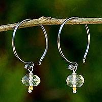 Prasiolite dangle earrings, 'Precious Mint' - Prasiolite on Sterling Silver Hook Earrings with Golden Bead