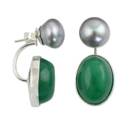 Grey Pearls and Green Quartz on Sterling Silver Earrings