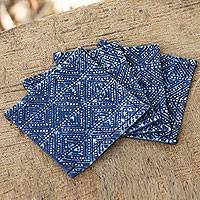 Cotton batik coasters, 'Hmong Indigo Stars' (set of 4) - Indigo Blue Coasters Artisan Crafted Cotton Batik (Set of 4)