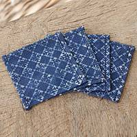 Cotton batik coasters, 'Diamond Snowflakes' (set of 4) - Indigo Blue Cotton Batik Coasters Artisan Crafted (Set of 4)