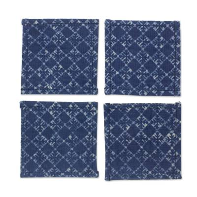 Indigo Blue Cotton Batik Coasters Artisan Crafted (Set of 4)