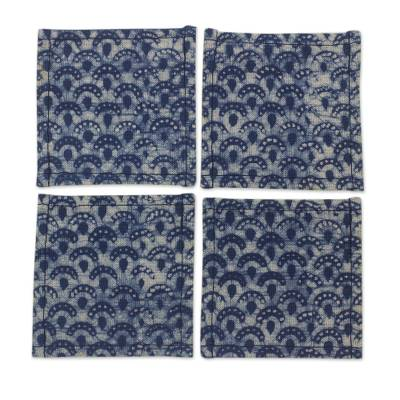 Indigo Blue Coasters Artisan Crafted Cotton Batik (Set of 4)