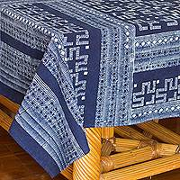 Cotton batik tablecloth, 'Graphic as Lace' (5x6.5) - Indigo Blue Tablecloth Artisan Crafted Cotton Batik (5x6.5)