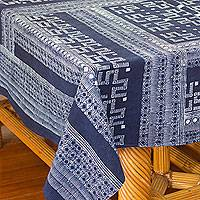 Cotton batik tablecloth, 'Graphic as Lace' (5x10) - Indigo Blue Tablecloth Artisan Crafted Cotton Batik (5x10)