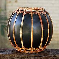 Wood vase, 'Asian Weave' - Black Lacquered Mango Wood Vase for Decorative Use