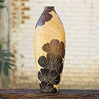 Decorative wood vase, 'Sunrise Blooms' - Artisan Crafted Decorative Wood Vase from Thailand
