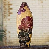 Decorative wood vase, 'Sunset Blooms' - Hand Crafted Mango Wood Vase for Decorative Use
