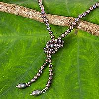Cultured pearl wrap necklace, 'Grey Iridescent Versatility' - Hand-knotted Grey Pearl Long Strand Wrap Necklace