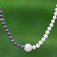 Cultured freshwater pearl necklace, 'Day and Night' - Grey and White Pearl Strand Necklace with 950 Silver