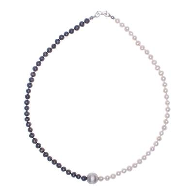 Grey and White Pearl Strand Necklace with 950 Silver