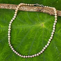 Cultured pearl strand necklace, 'Natural Sweetness' - Pink White Grey Pearls Necklace in Hand-knotted Strand