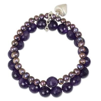 Silver Heart Charm on Amethyst and Pearl Bracelet