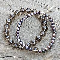 Cultured pearl and smoky quartz stretch bracelet, 'Iridescent Sea' - Smokey Quartz and Pearl Stretch Bracelet with Silver Charm