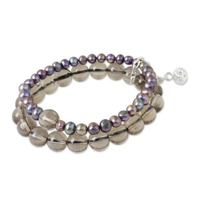 Smokey Quartz and Pearl Stretch Bracelet with Silver Charm