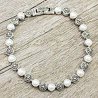 Cultured pearl and marcasite link bracelet, 'Lanna Eclipse' - Pearls and Marcasite on Sterling Silver Link Bracelet