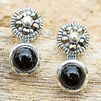 Onyx and marcasite drop earrings, 'Lanna Eclipse' - Onyx Marcasite Earrings in Sterling Silver Vintage Style