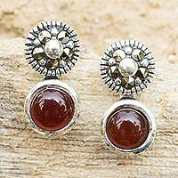 Marcasite and red onyx drop earrings, 'Red Lanna Eclipse' - Red Onyx Marcasite Earrings in Sterling Silver Vintage Style