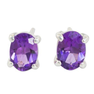 Amethyst Stud Earrings Sterling Silver Thai Jewelry