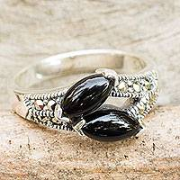 Onyx and marcasite cocktail ring, 'Black Lotus Buds' - Thai Onyx Handcrafted Silver and Marcasite Ring