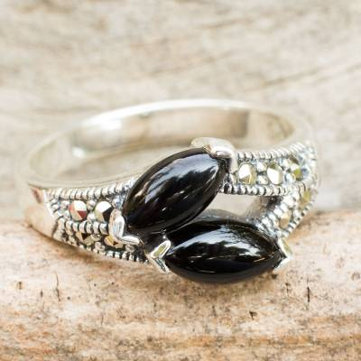 Thai Onyx Handcrafted Silver and Marcasite Ring