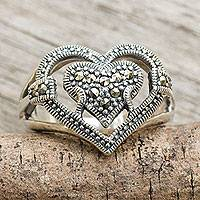 Marcasite heart ring, 'Too Much Love' - Thai Handcrafted Silver and Marcasite Heart Ring